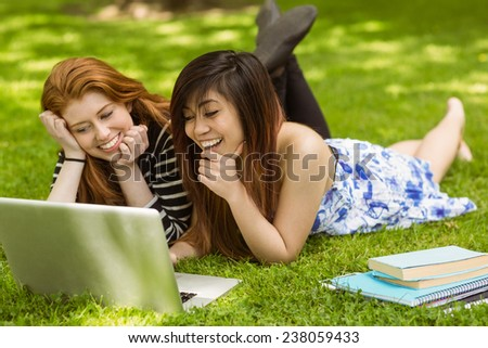 Happy relaxed young women using laptop in the park - stock photo