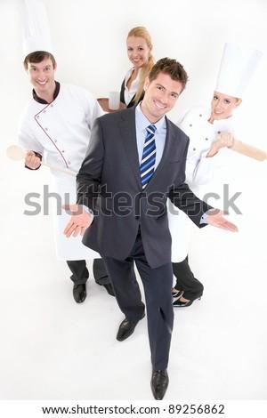 Happy restaurant staff - stock photo
