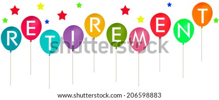 Happy retirement banner on white! - stock photo