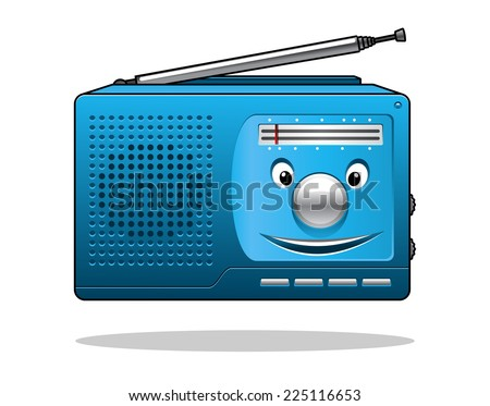 Happy retro blue portable transistor radio with an aerial and smiling face isolated on white - stock photo