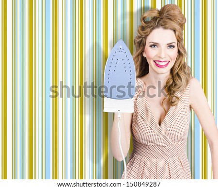 Happy retro housewife doing ironing with smile, home interior wallpaper background - stock photo