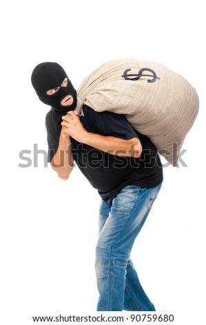 Happy robber carries sack full of dollars isolated on white - stock photo