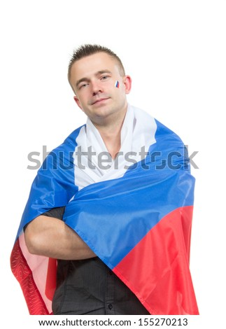 Happy russian soccer fan with russian national flag cheer for the team on a white bachground - stock photo