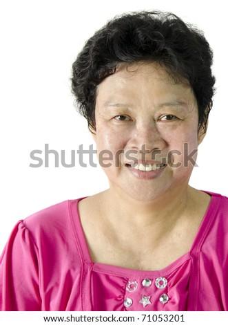 Happy 60s Senior Asian Woman on white background - stock photo