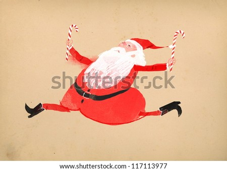 happy santa - stock photo