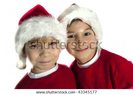Happy santa boys - stock photo