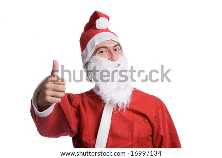 happy santa claus isolated on white background - stock photo