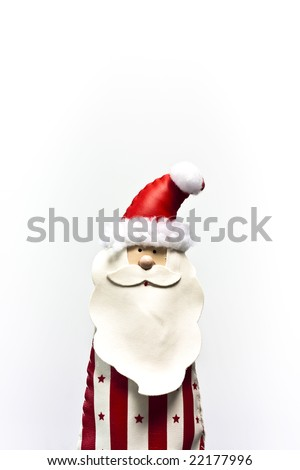 Happy Santa Claus puppet made of leather - stock photo