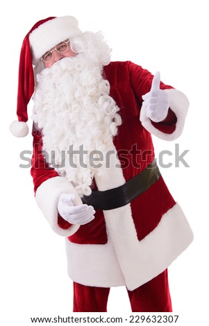 happy Santa Claus shows gesture thumbs up. Isolated on white background - stock photo
