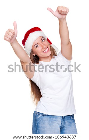 happy santa woman in white t-shirt showing thumbs up. studio shot over white background - stock photo