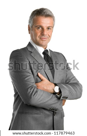 Happy satisfied mature businessman looking at camera isolated on white background - stock photo