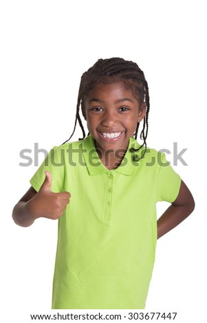Happy school aged child giving a thumbs up, isolated on white - stock photo