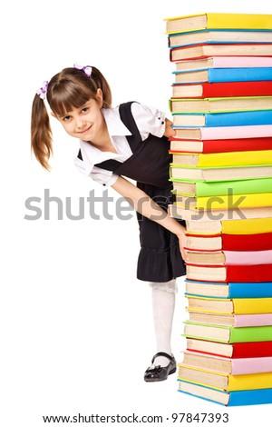 Happy Schoolgirl holding pile of books. Isolated - stock photo