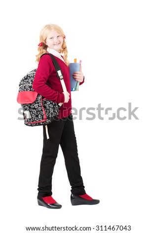 happy schoolgirl isolated on white - stock photo