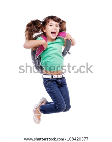 Happy schoolgirl  jumping high on white background - stock photo