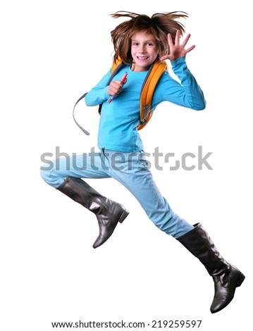 Happy schoolgirl  with a backpack and pens in her hands  exercising and jumping. Isolated over white background. Education childhood concept - stock photo