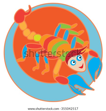 Happy Scorpio sticker, clip-art hand drawn illustration of a cheerful cartoon character isolated on white - stock photo