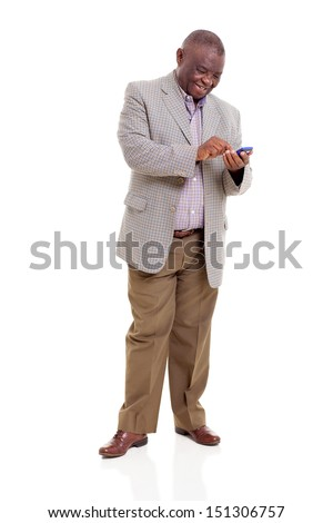 happy senior african man using smart phone isolated on white - stock photo
