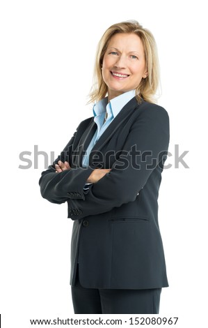 Happy Senior Businesswoman Isolated On White Background - stock photo
