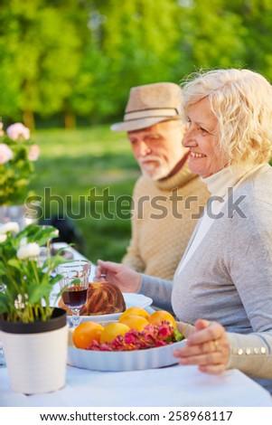 Happy senior couple eating cake in a garden in summer - stock photo