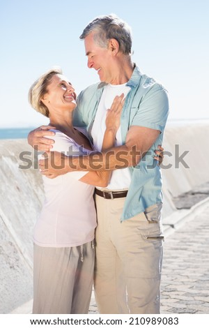 Happy senior couple embracing on the pier on a sunny day - stock photo