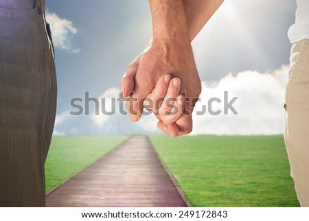 Happy senior couple holding hands against path on grass - stock photo