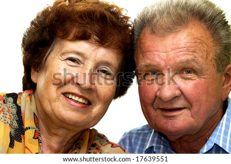 Happy senior couple isolated on white - stock photo