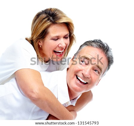 Happy senior couple. Isolated on white background. - stock photo