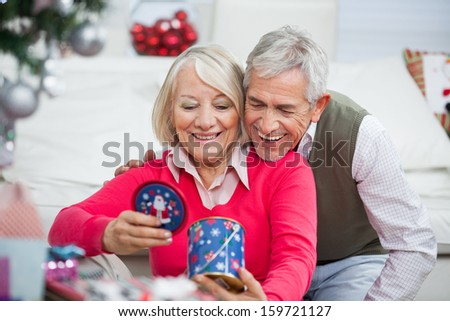 Happy senior couple looking at Christmas gift at home - stock photo