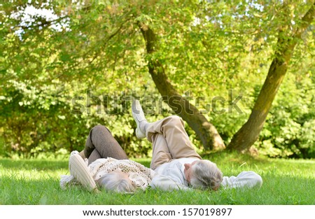Happy senior couple lying in autumn park - stock photo