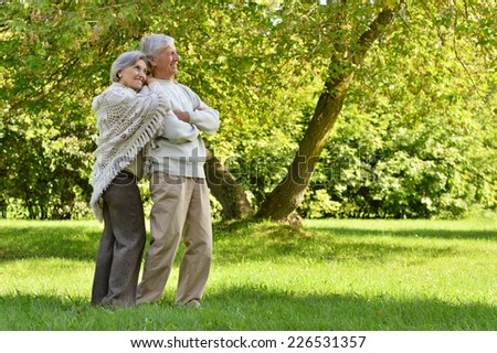 Happy senior couple standing in summer park - stock photo