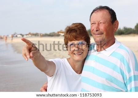 Happy senior couple together - stock photo