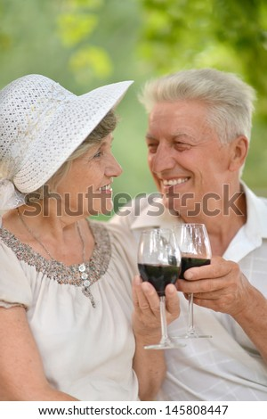 happy senior couple together relaxing and drinking wine together - stock photo