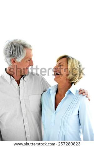 Happy senior couple - woman laughing - isolated on white - stock photo