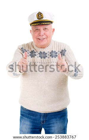 Happy senior old man showing thumbs up gesture on white background isolated - stock photo