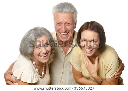 Happy senior parents with daughter on white background - stock photo