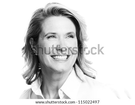 Happy senior woman. Isolated on white background. - stock photo