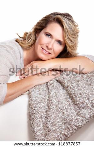 Happy senior woman. Isolated on white background. - stock photo