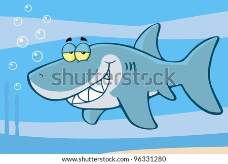 Happy Shark Cartoon Character Under The Sea. Raster Illustration From Vector - stock photo
