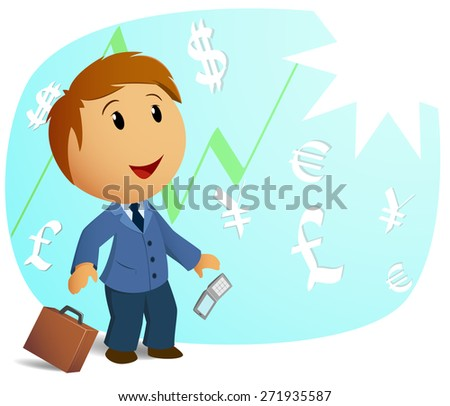 Happy shocked businessman with throw case and cell phone on currency background. - stock photo