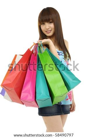 happy shopping girl,isolated - stock photo