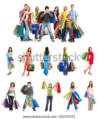 Happy shopping people. Isolated over white background - stock photo
