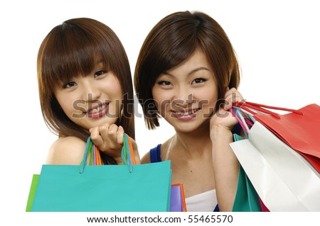 Happy shopping student - stock photo