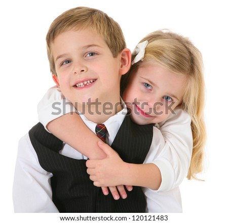 Happy Sister Hugging Brother - stock photo