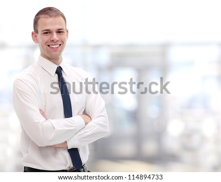 Happy smart business man - stock photo