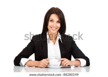 happy smile business woman hold cup of coffee sitting at the desk, isolated over white background - stock photo