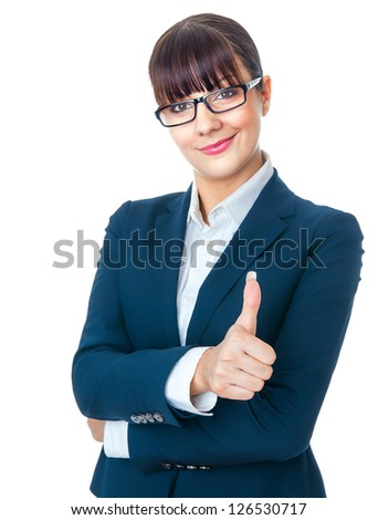 Happy smile businesswoman showing like sign, thumbs up. Isolated on white - stock photo