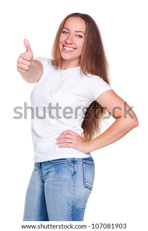happy smiley woman in white t-shirt and jeans showing thumbs up - stock photo