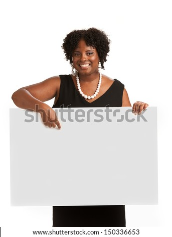 Happy Smiling African American Female Holding Blank Board Isolated on White Background - stock photo