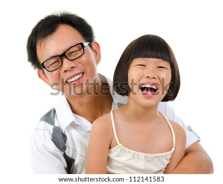 Happy smiling Asian girl and father, isolated on white background - stock photo